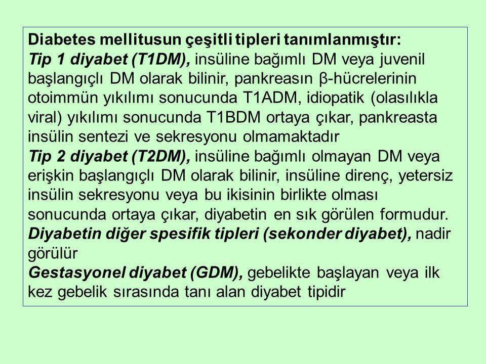 Diabetes mellitusun çeşitli tipleri tanımlanmıştır: Tip 1 diyabet (T1DM), insüline bağımlı DM veya juvenil başlangıçlı DM olarak bilinir, pankreasın β-hücrelerinin otoimmün yıkılımı sonucunda T1ADM, idiopatik (olasılıkla viral) yıkılımı sonucunda T1BDM ortaya çıkar, pankreasta insülin sentezi ve sekresyonu olmamaktadır Tip 2 diyabet (T2DM), insüline bağımlı olmayan DM veya erişkin başlangıçlı DM olarak bilinir, insüline direnç, yetersiz insülin sekresyonu veya bu ikisinin birlikte olması sonucunda ortaya çıkar, diyabetin en sık görülen formudur.