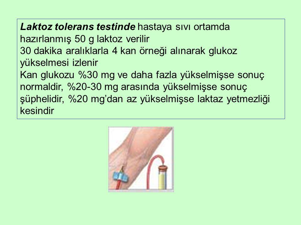 Laktoz tolerans testinde hastaya sıvı ortamda hazırlanmış 50 g laktoz verilir 30 dakika aralıklarla 4 kan örneği alınarak glukoz yükselmesi izlenir Kan glukozu %30 mg ve daha fazla yükselmişse sonuç normaldir, %20-30 mg arasında yükselmişse sonuç şüphelidir, %20 mg'dan az yükselmişse laktaz yetmezliği kesindir