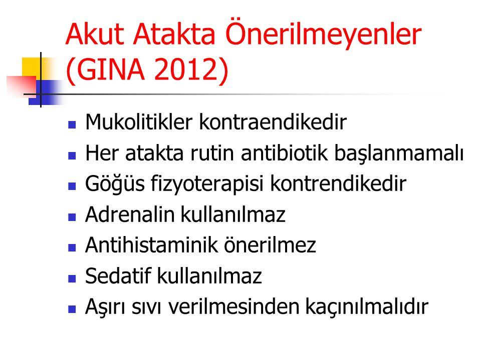 Akut Atakta Önerilmeyenler (GINA 2012) Mukolitikler kontraendikedir Her atakta rutin antibiotik başlanmamalı Göğüs fizyoterapisi kontrendikedir Adrena