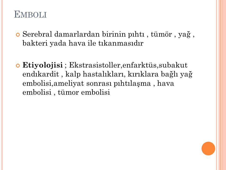 T ANı BT veya anjiyografi emboli tanısında kullanılan yöntemlerdir.