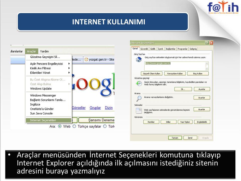 INTERNET KULLANIMI Araçlar menüsünden İnternet Seçenekleri komutuna tıklayıp Internet Explorer açıldığında ilk açılmasını istediğiniz sitenin adresini buraya yazmalıyız