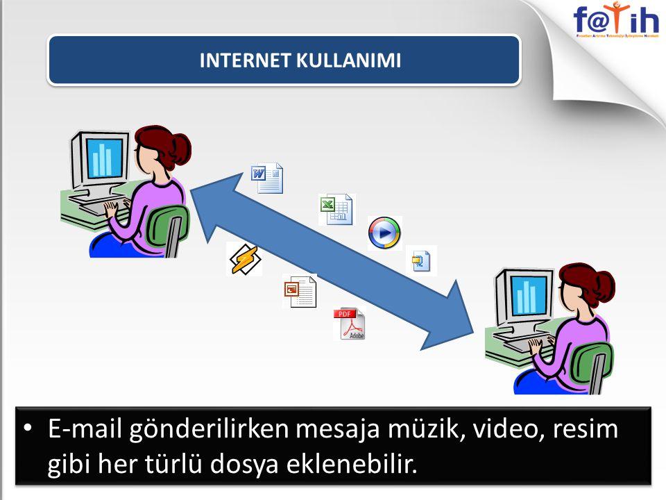 INTERNET KULLANIMI E-mail gönderilirken mesaja müzik, video, resim gibi her türlü dosya eklenebilir.