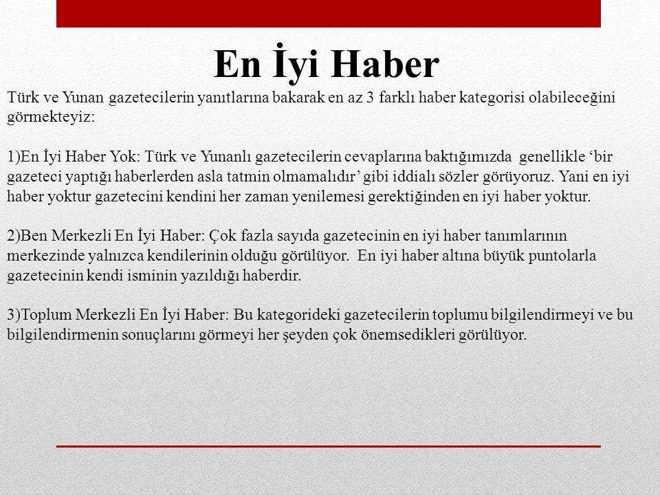 En İyi Haber Türk ve Yunan gazetecilerin yanıtlarına bakarak en az 3 farklı haber kategorisi olabileceğini görmekteyiz: 1)En İyi Haber Yok: Türk ve Yunanlı gazetecilerin cevaplarına baktığımızda genellikle 'bir gazeteci yaptığı haberlerden asla tatmin olmamalıdır' gibi iddialı sözler görüyoruz.