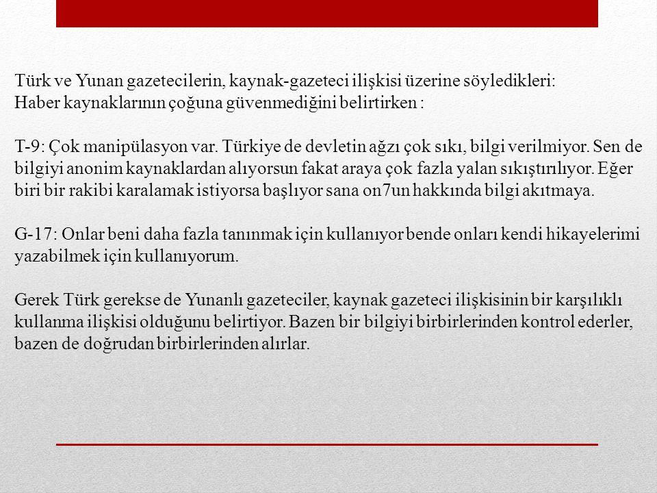 Türk ve Yunan gazetecilerin, kaynak-gazeteci ilişkisi üzerine söyledikleri: Haber kaynaklarının çoğuna güvenmediğini belirtirken : T-9: Çok manipülasyon var.