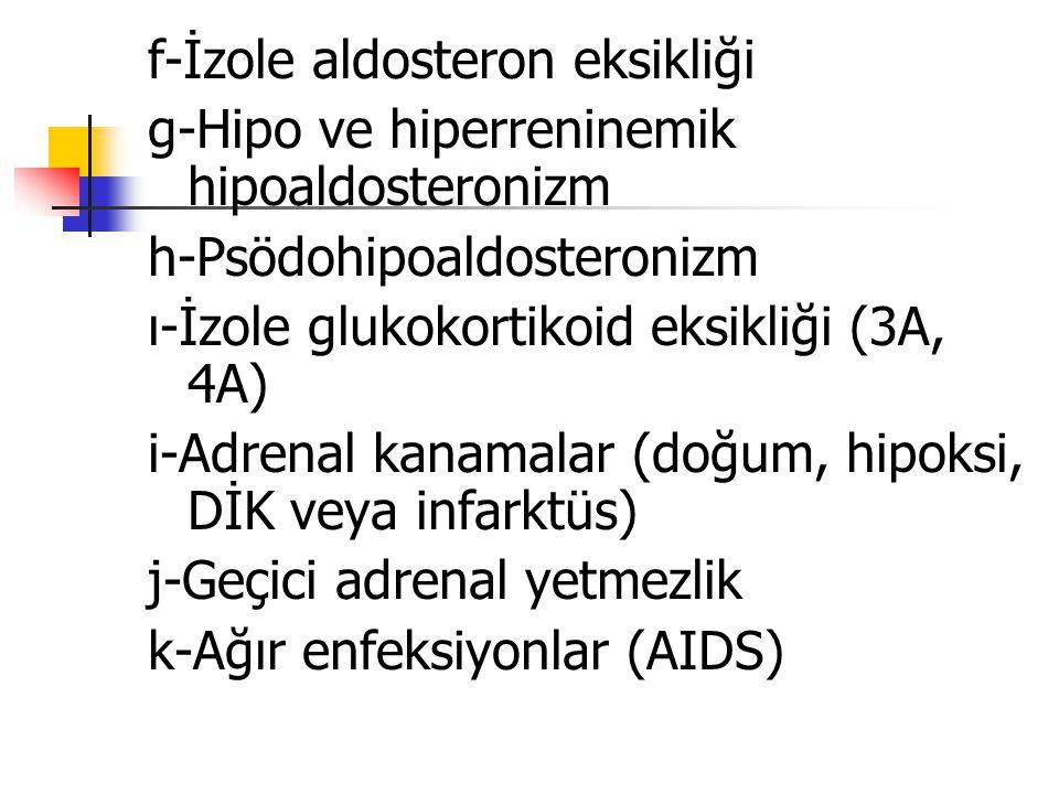 f-İzole aldosteron eksikliği g-Hipo ve hiperreninemik hipoaldosteronizm h-Psödohipoaldosteronizm ı-İzole glukokortikoid eksikliği (3A, 4A) i-Adrenal k