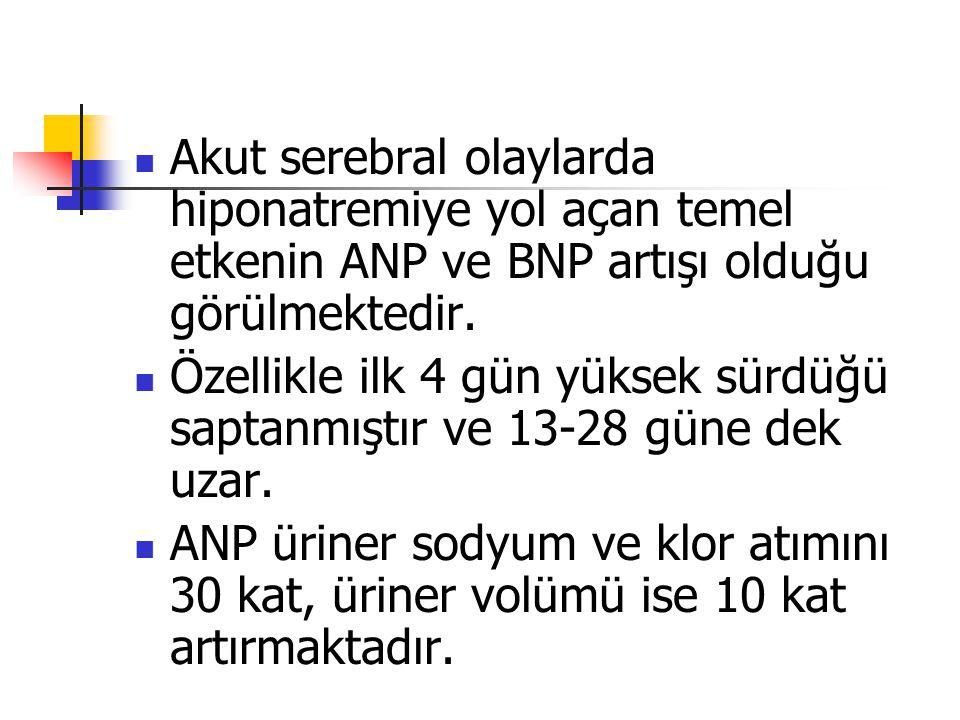 Akut serebral olaylarda hiponatremiye yol açan temel etkenin ANP ve BNP artışı olduğu görülmektedir. Özellikle ilk 4 gün yüksek sürdüğü saptanmıştır v