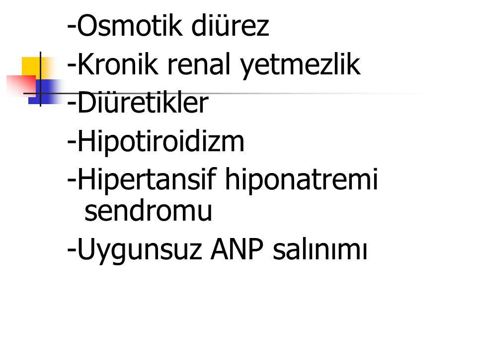 -Osmotik diürez -Kronik renal yetmezlik -Diüretikler -Hipotiroidizm -Hipertansif hiponatremi sendromu -Uygunsuz ANP salınımı