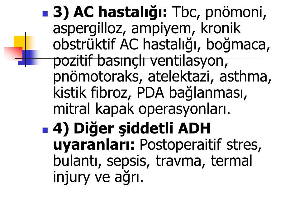3) AC hastalığı: Tbc, pnömoni, aspergilloz, ampiyem, kronik obstrüktif AC hastalığı, boğmaca, pozitif basınçlı ventilasyon, pnömotoraks, atelektazi, a