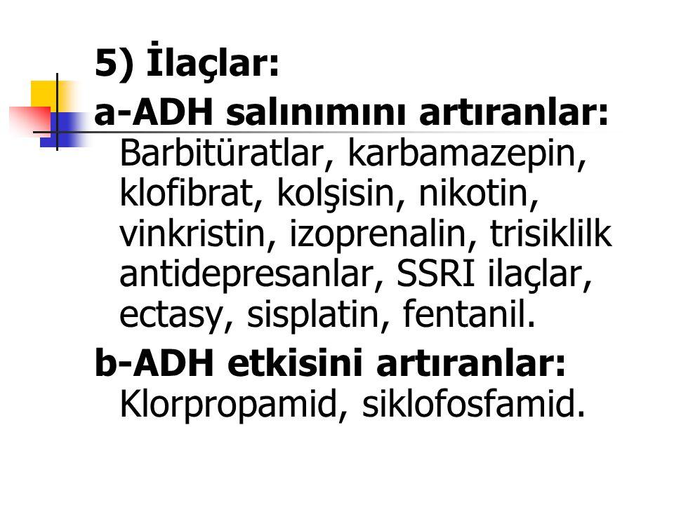 5) İlaçlar: a-ADH salınımını artıranlar: Barbitüratlar, karbamazepin, klofibrat, kolşisin, nikotin, vinkristin, izoprenalin, trisiklilk antidepresanla