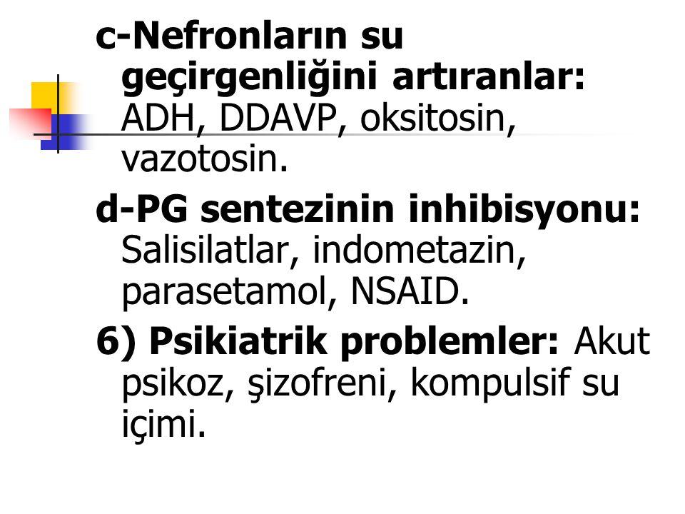 c-Nefronların su geçirgenliğini artıranlar: ADH, DDAVP, oksitosin, vazotosin. d-PG sentezinin inhibisyonu: Salisilatlar, indometazin, parasetamol, NSA