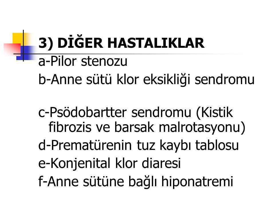 3) DİĞER HASTALIKLAR a-Pilor stenozu b-Anne sütü klor eksikliği sendromu c-Psödobartter sendromu (Kistik fibrozis ve barsak malrotasyonu) d-Prematüren