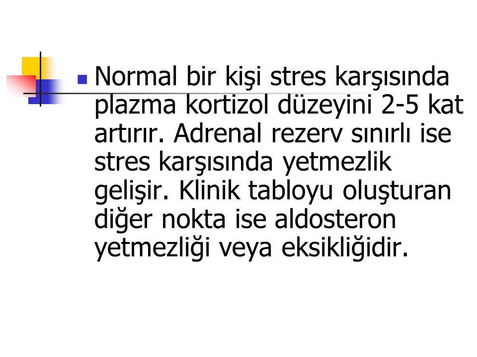 Normal bir kişi stres karşısında plazma kortizol düzeyini 2-5 kat artırır. Adrenal rezerv sınırlı ise stres karşısında yetmezlik gelişir. Klinik tablo