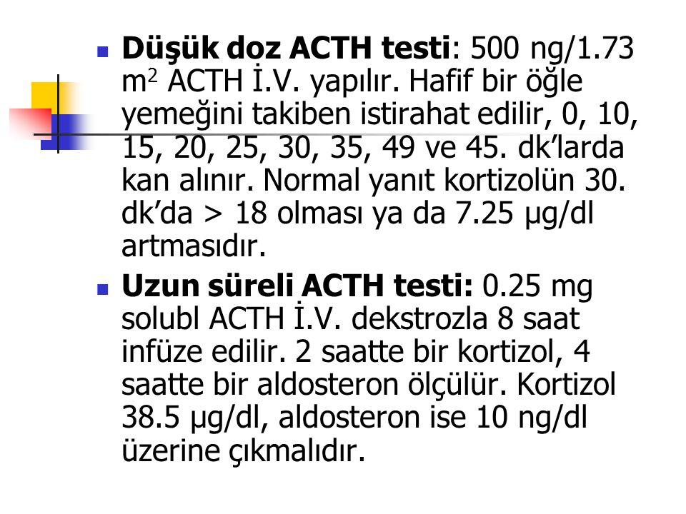 Düşük doz ACTH testi: 500 ng/1.73 m 2 ACTH İ.V. yapılır. Hafif bir öğle yemeğini takiben istirahat edilir, 0, 10, 15, 20, 25, 30, 35, 49 ve 45. dk'lar