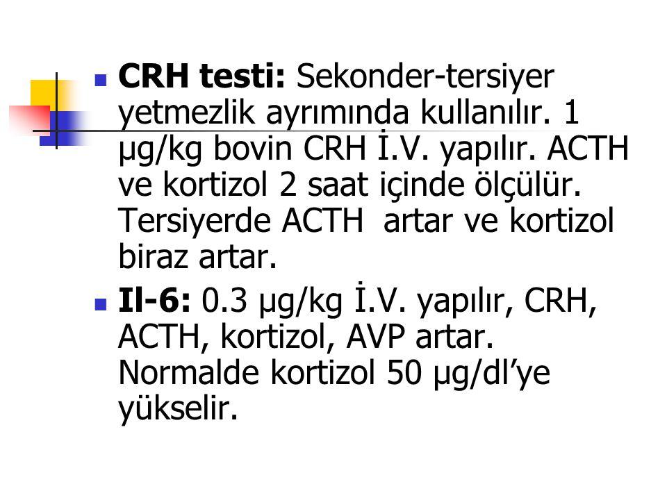 CRH testi: Sekonder-tersiyer yetmezlik ayrımında kullanılır. 1 μg/kg bovin CRH İ.V. yapılır. ACTH ve kortizol 2 saat içinde ölçülür. Tersiyerde ACTH a