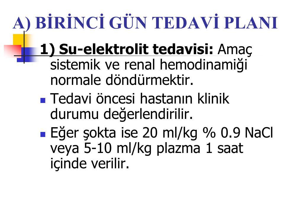 A) BİRİNCİ GÜN TEDAVİ PLANI 1) Su-elektrolit tedavisi: Amaç sistemik ve renal hemodinamiği normale döndürmektir. Tedavi öncesi hastanın klinik durumu