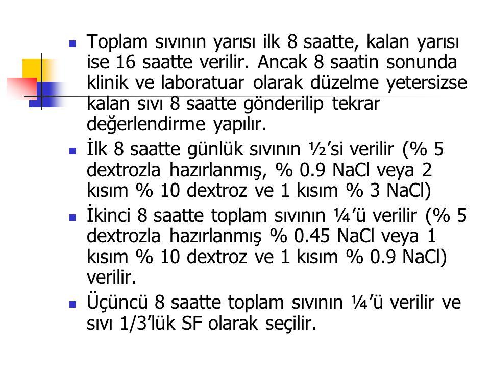 Toplam sıvının yarısı ilk 8 saatte, kalan yarısı ise 16 saatte verilir. Ancak 8 saatin sonunda klinik ve laboratuar olarak düzelme yetersizse kalan sı