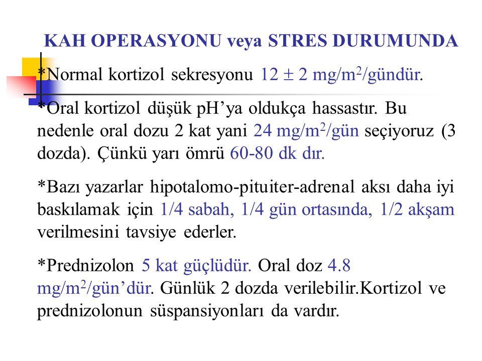 KAH OPERASYONU veya STRES DURUMUNDA *Normal kortizol sekresyonu 12  2 mg/m 2 /gündür. *Oral kortizol düşük pH'ya oldukça hassastır. Bu nedenle oral d