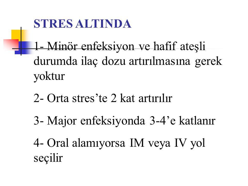 STRES ALTINDA 1- Minör enfeksiyon ve hafif ateşli durumda ilaç dozu artırılmasına gerek yoktur 2- Orta stres'te 2 kat artırılır 3- Major enfeksiyonda