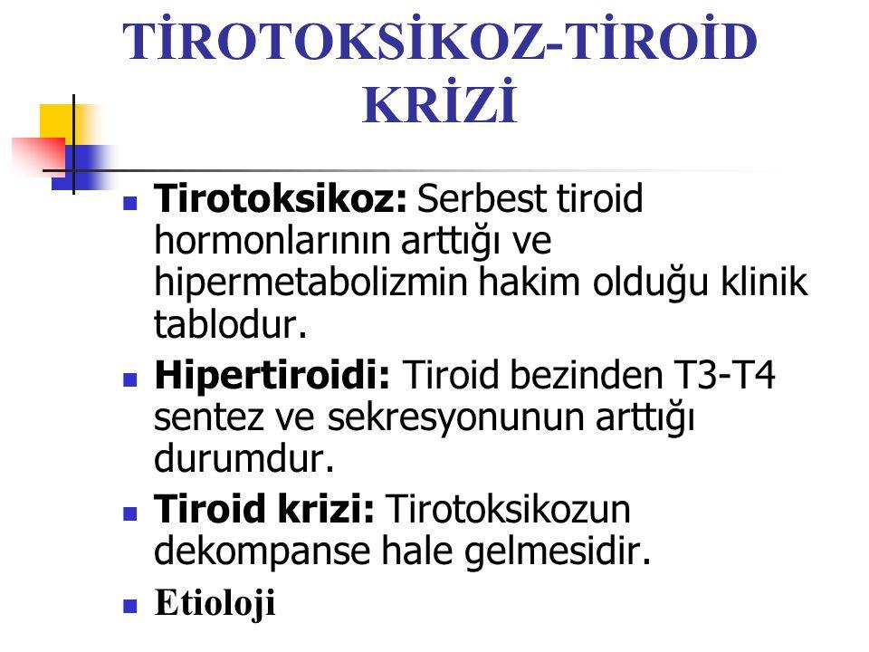 TİROTOKSİKOZ-TİROİD KRİZİ Tirotoksikoz: Serbest tiroid hormonlarının arttığı ve hipermetabolizmin hakim olduğu klinik tablodur. Hipertiroidi: Tiroid b