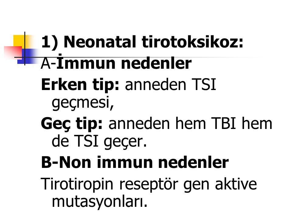1) Neonatal tirotoksikoz: A-İmmun nedenler Erken tip: anneden TSI geçmesi, Geç tip: anneden hem TBI hem de TSI geçer. B-Non immun nedenler Tirotiropin
