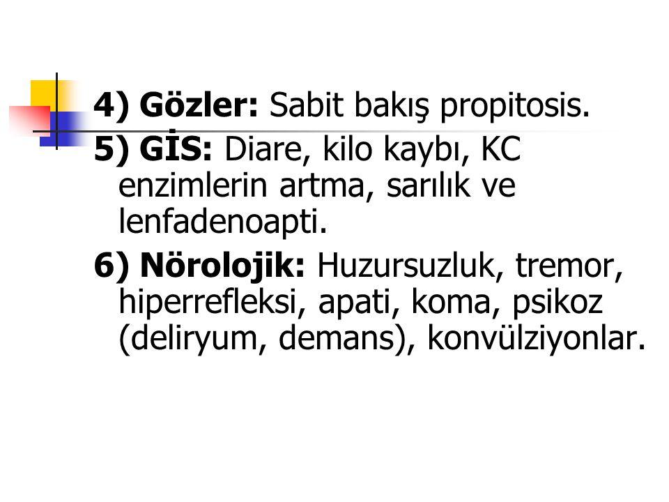 4) Gözler: Sabit bakış propitosis. 5) GİS: Diare, kilo kaybı, KC enzimlerin artma, sarılık ve lenfadenoapti. 6) Nörolojik: Huzursuzluk, tremor, hiperr