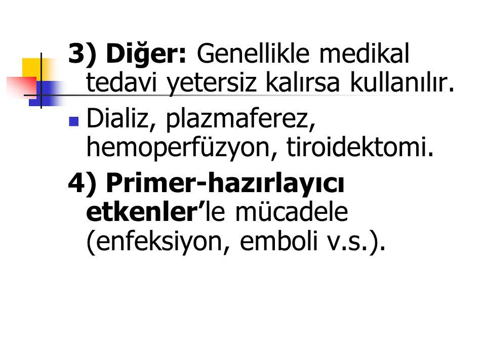 3) Diğer: Genellikle medikal tedavi yetersiz kalırsa kullanılır. Dializ, plazmaferez, hemoperfüzyon, tiroidektomi. 4) Primer-hazırlayıcı etkenler'le m