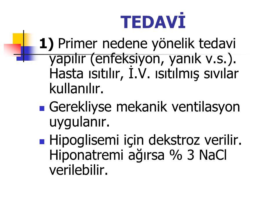 TEDAVİ 1) Primer nedene yönelik tedavi yapılır (enfeksiyon, yanık v.s.). Hasta ısıtılır, İ.V. ısıtılmış sıvılar kullanılır. Gerekliyse mekanik ventila