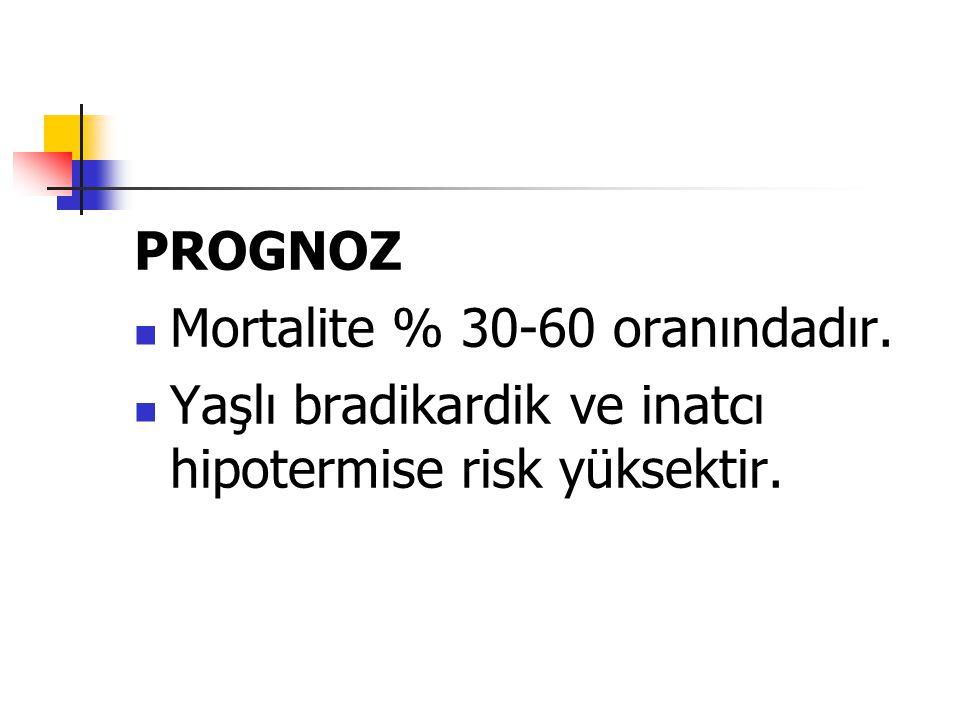 PROGNOZ Mortalite % 30-60 oranındadır. Yaşlı bradikardik ve inatcı hipotermise risk yüksektir.