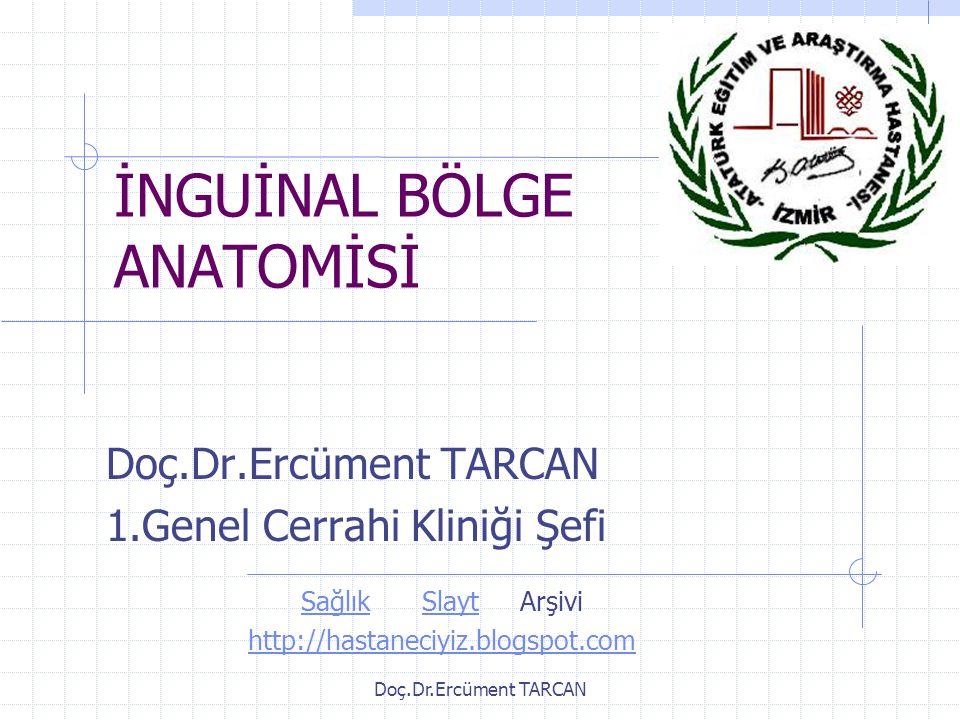 Doç.Dr.Ercüment TARCAN İNGUİNAL BÖLGE ANATOMİSİ Doç.Dr.Ercüment TARCAN 1.Genel Cerrahi Kliniği Şefi SağlıkSlaytArşivi http://hastaneciyiz.blogspot.com
