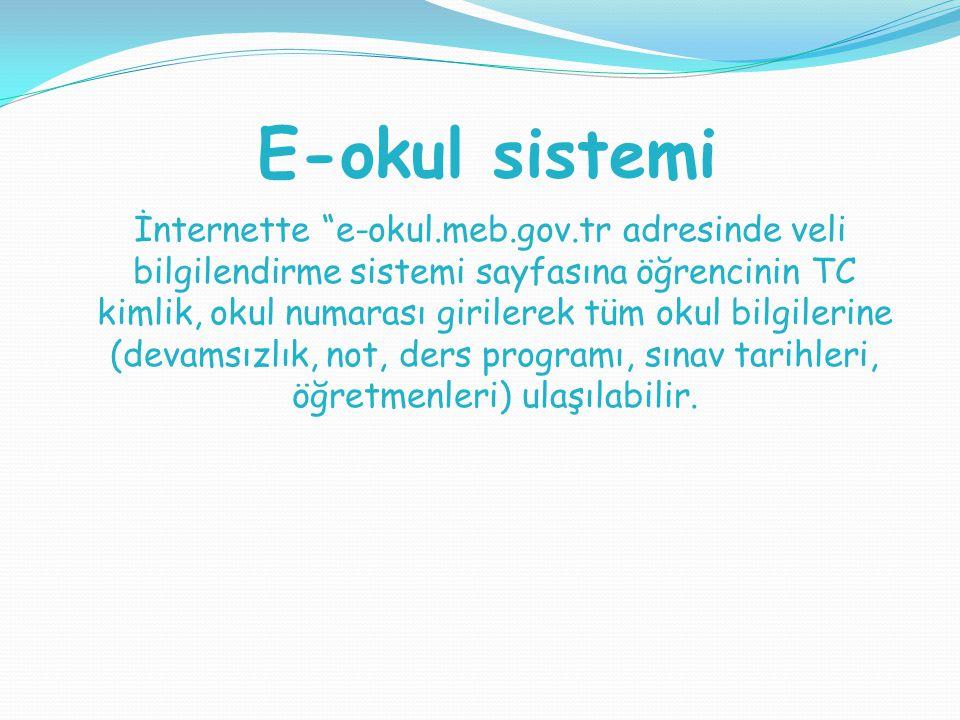"""E-okul sistemi İnternette """"e-okul.meb.gov.tr adresinde veli bilgilendirme sistemi sayfasına öğrencinin TC kimlik, okul numarası girilerek tüm okul bil"""