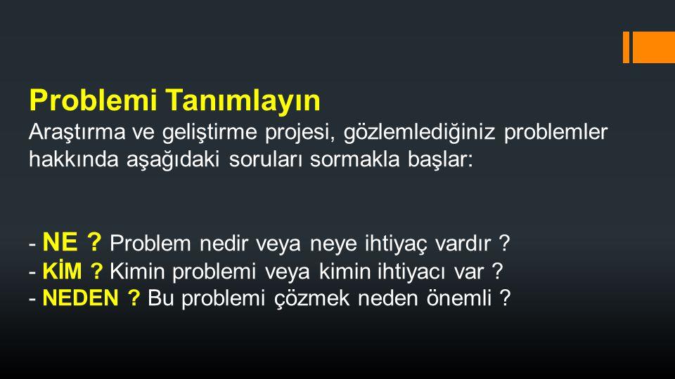 Problemi Tanımlayın Araştırma ve geliştirme projesi, gözlemlediğiniz problemler hakkında aşağıdaki soruları sormakla başlar: - NE .