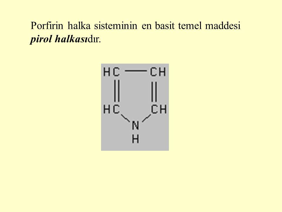 Dört pirol halkası metenil (=CH-, metin) köprüleri ile birbirine bağlanırsa porfin halka sistemi oluşur