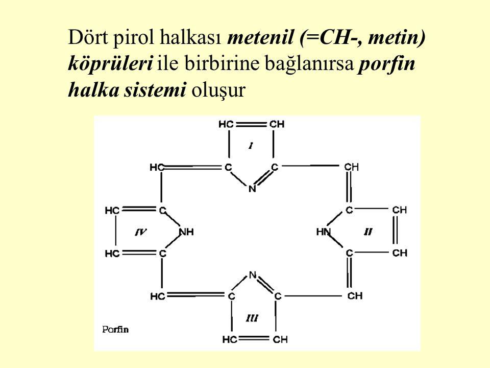 Porfin halka sistemindeki pirol halkalarına çeşitli yan zincirlerin eklenmesiyle porfirin halka sistemi oluşur.