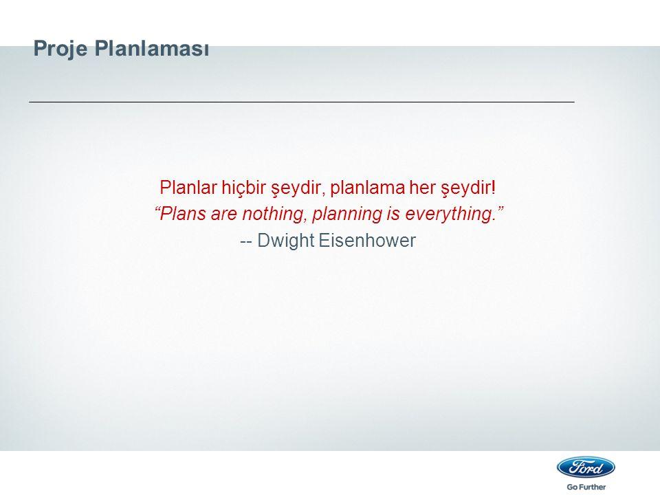 """Proje Planlaması Planlar hiçbir şeydir, planlama her şeydir! """"Plans are nothing, planning is everything."""" -- Dwight Eisenhower"""