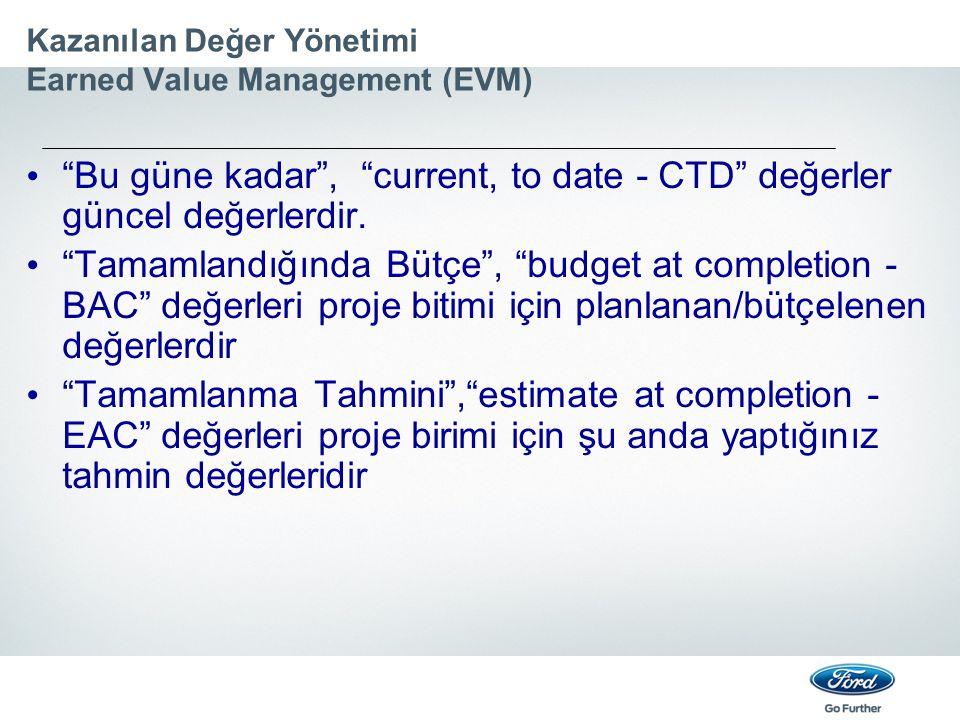 """Kazanılan Değer Yönetimi Earned Value Management (EVM) """"Bu güne kadar"""", """"current, to date - CTD"""" değerler güncel değerlerdir. """"Tamamlandığında Bütçe"""","""