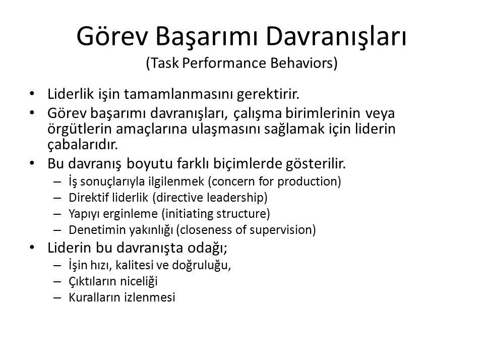 Görev Başarımı Davranışları (Task Performance Behaviors) Liderlik işin tamamlanmasını gerektirir. Görev başarımı davranışları, çalışma birimlerinin ve