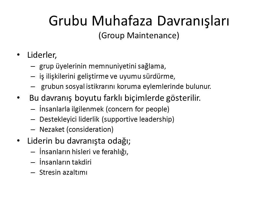 Grubu Muhafaza Davranışları (Group Maintenance) Liderler, – grup üyelerinin memnuniyetini sağlama, – iş ilişkilerini geliştirme ve uyumu sürdürme, – g