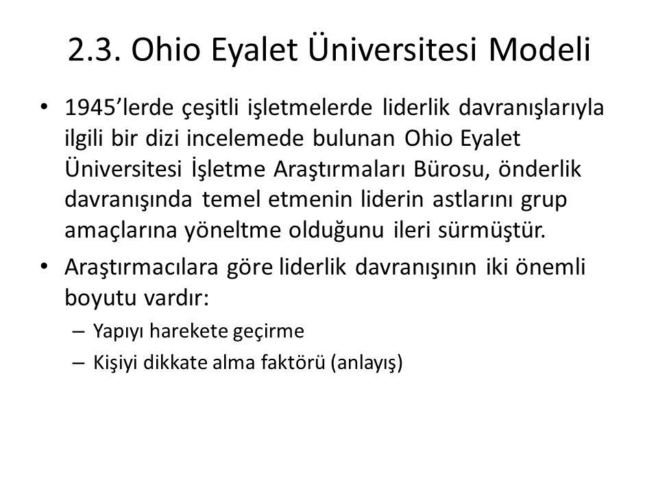 2.3. Ohio Eyalet Üniversitesi Modeli 1945'lerde çeşitli işletmelerde liderlik davranışlarıyla ilgili bir dizi incelemede bulunan Ohio Eyalet Üniversit