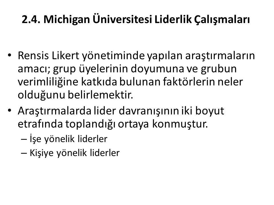 2.4. Michigan Üniversitesi Liderlik Çalışmaları Rensis Likert yönetiminde yapılan araştırmaların amacı; grup üyelerinin doyumuna ve grubun verimliliği
