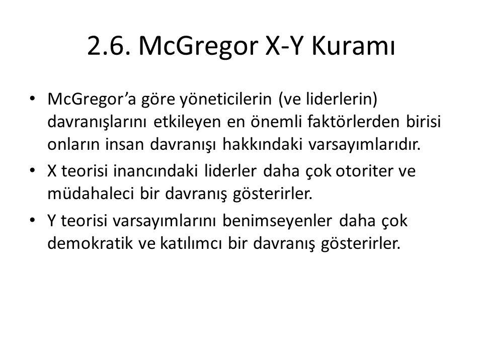 2.6. McGregor X-Y Kuramı McGregor'a göre yöneticilerin (ve liderlerin) davranışlarını etkileyen en önemli faktörlerden birisi onların insan davranışı