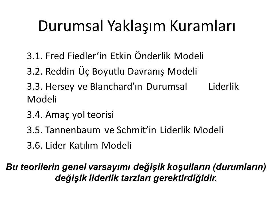 Durumsal Yaklaşım Kuramları 3.1. Fred Fiedler'in Etkin Önderlik Modeli 3.2. Reddin Üç Boyutlu Davranış Modeli 3.3. Hersey ve Blanchard'ın Durumsal Lid