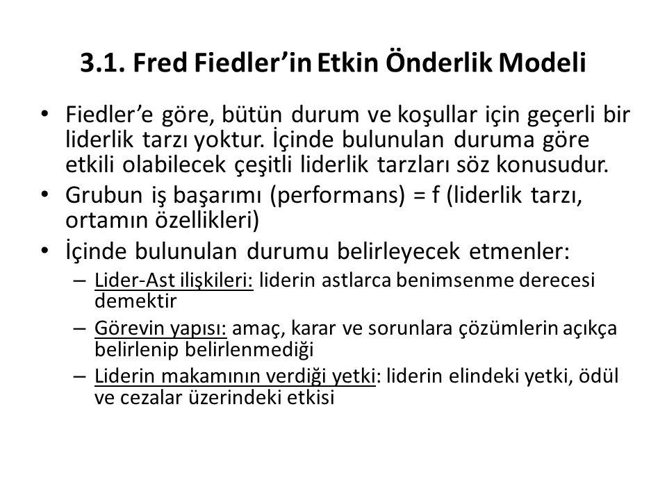 3.1. Fred Fiedler'in Etkin Önderlik Modeli Fiedler'e göre, bütün durum ve koşullar için geçerli bir liderlik tarzı yoktur. İçinde bulunulan duruma gör