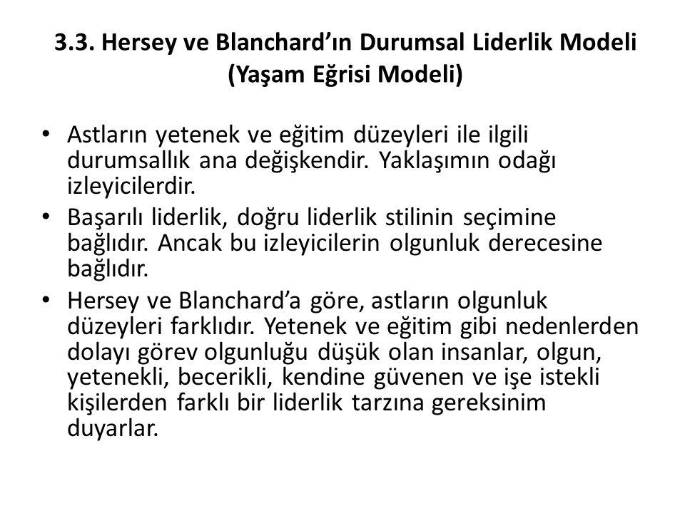 3.3. Hersey ve Blanchard'ın Durumsal Liderlik Modeli (Yaşam Eğrisi Modeli) Astların yetenek ve eğitim düzeyleri ile ilgili durumsallık ana değişkendir