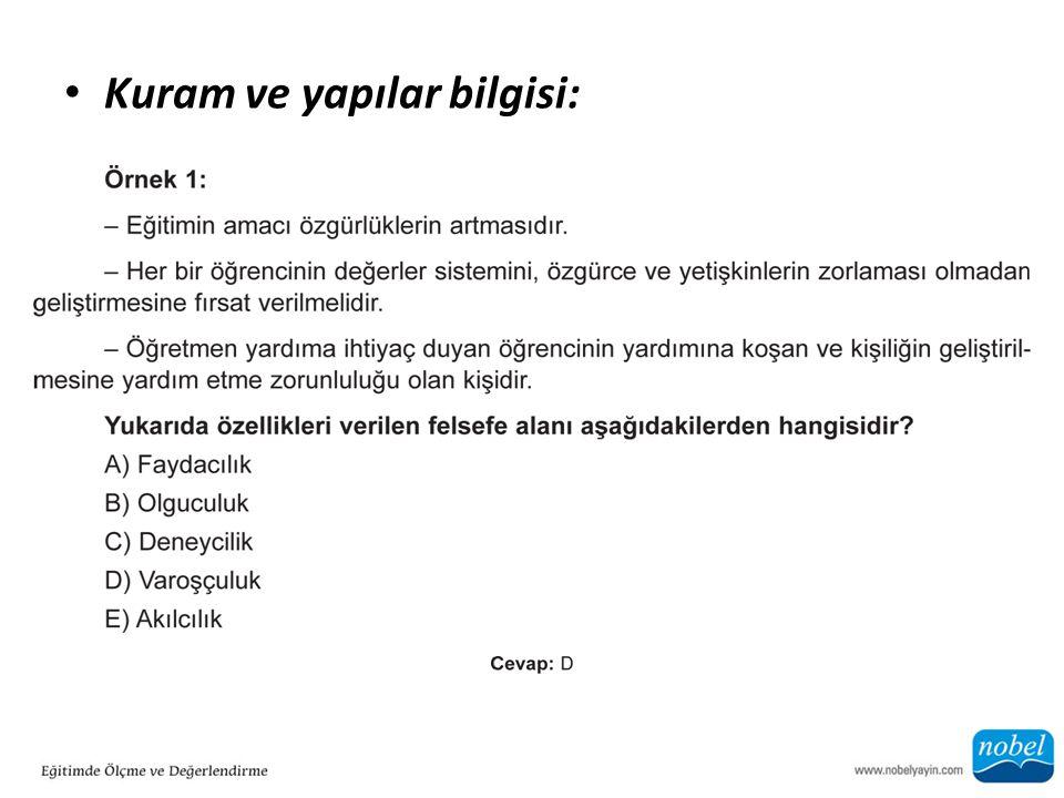 Kuram ve yapılar bilgisi: