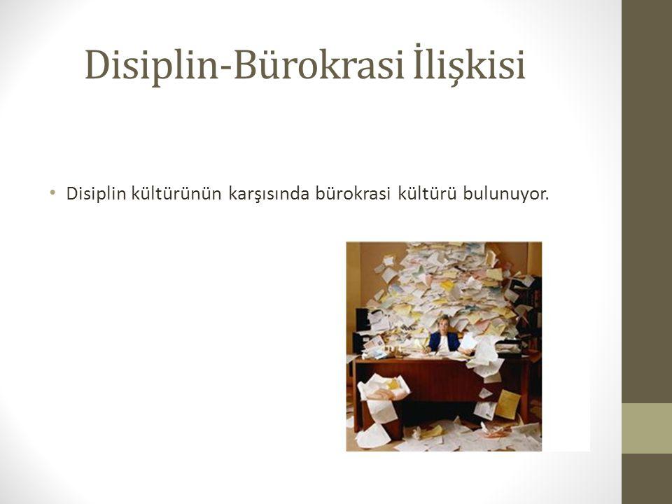 Disiplin-Bürokrasi İlişkisi Disiplin kültürünün karşısında bürokrasi kültürü bulunuyor.