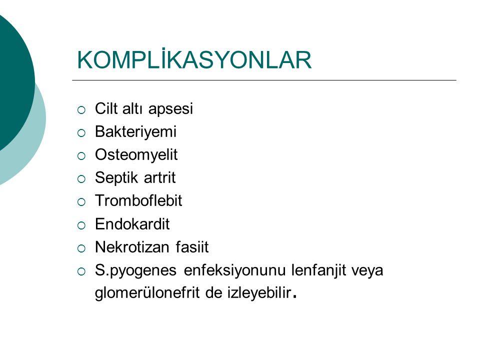 KOMPLİKASYONLAR  Cilt altı apsesi  Bakteriyemi  Osteomyelit  Septik artrit  Tromboflebit  Endokardit  Nekrotizan fasiit  S.pyogenes enfeksiyon