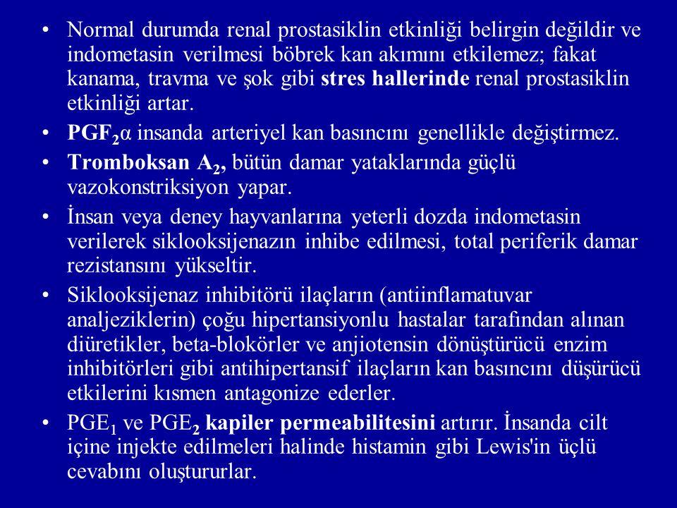 2)Üreme sistemi: -Üreme sisteminin çeşitli kısımlarında bol miktarda prostaglandin oluşur.