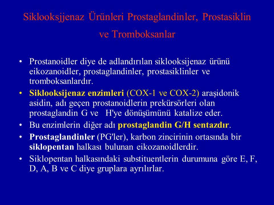 Siklooksjjenaz Ürünleri Prostaglandinler, Prostasiklin ve Tromboksanlar Prostanoidler diye de adlandırılan siklooksijenaz ürünü eikozanoidler, prostag