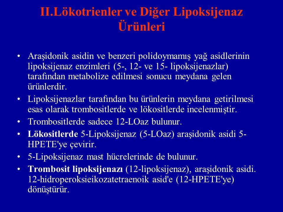 II.Lökotrienler ve Diğer Lipoksijenaz Ürünleri Araşidonik asidin ve benzeri polidoymamış yağ asidlerinin lipoksijenaz enzimleri (5-, 12- ve 15- lipoks