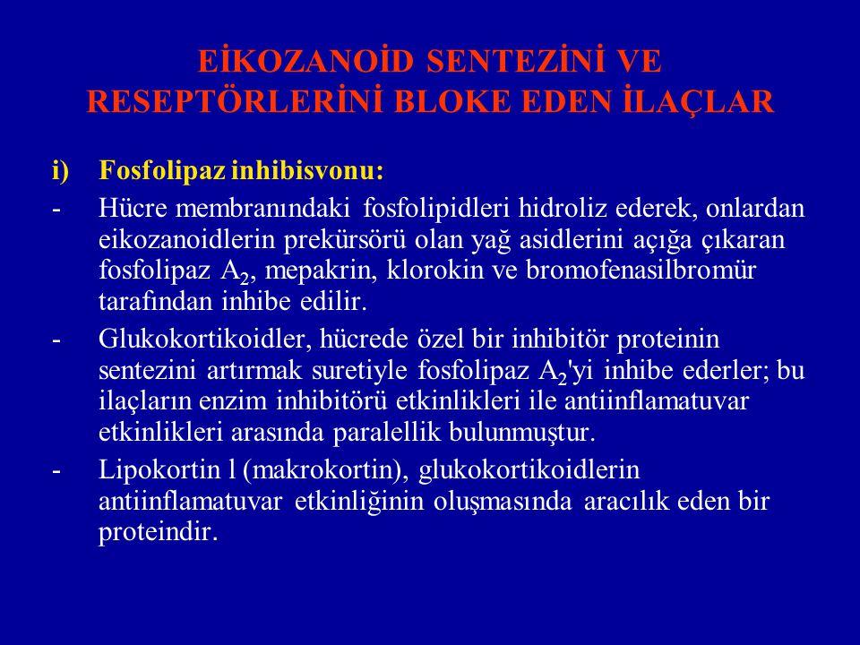 ii) Siklooksijenaz inhibisyonu: -Aspirin, indometasin ve diğer antiiflamatuvar analjezikler, bu enzimi inhibe ederek, siklik endoperoksidlerin ve onlardan oluşan prostaglandinlerin, TxA2 ve prostasiklin in sentez ve salıverilmesini inhibe ederler.